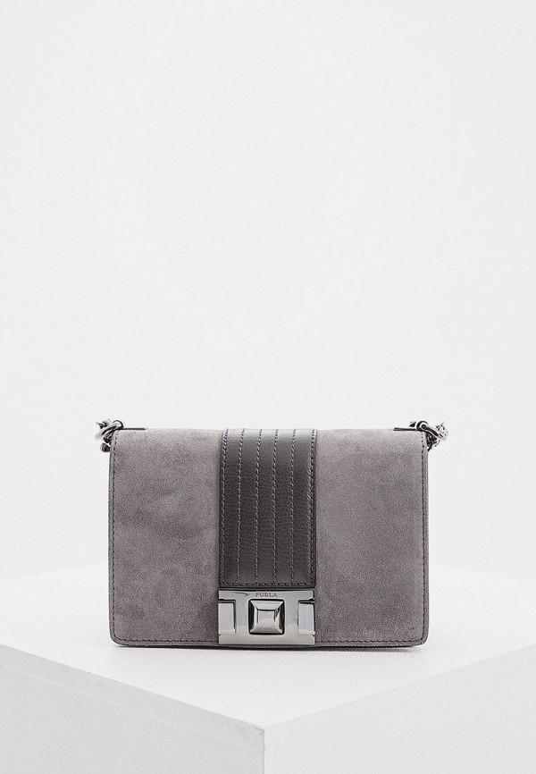 женская сумка через плечо furla, серая