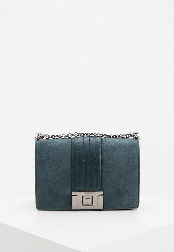 женская сумка через плечо furla, зеленая