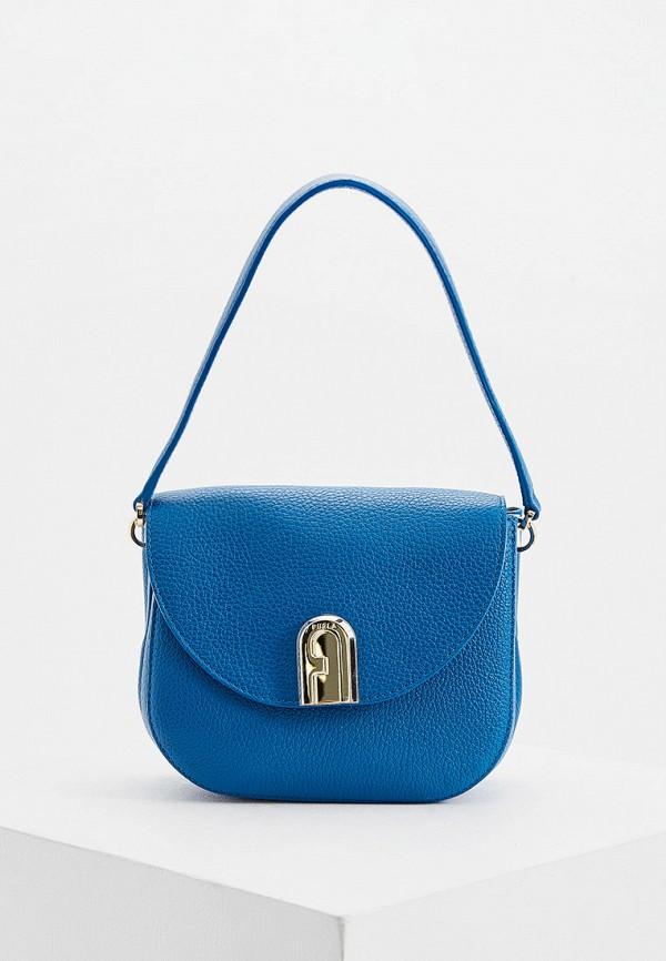 женская сумка через плечо furla, синяя