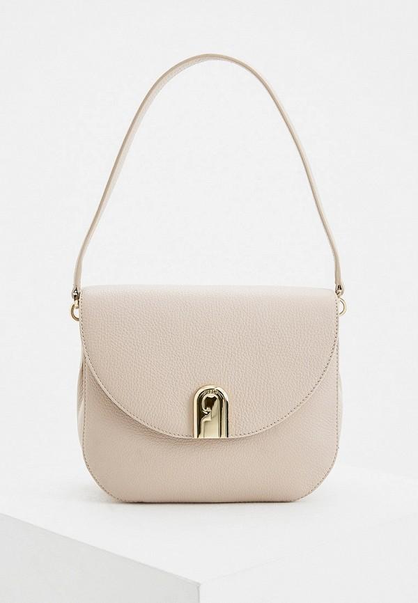 женская сумка через плечо furla, бежевая