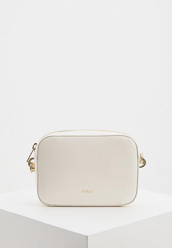 женская сумка через плечо furla, белая