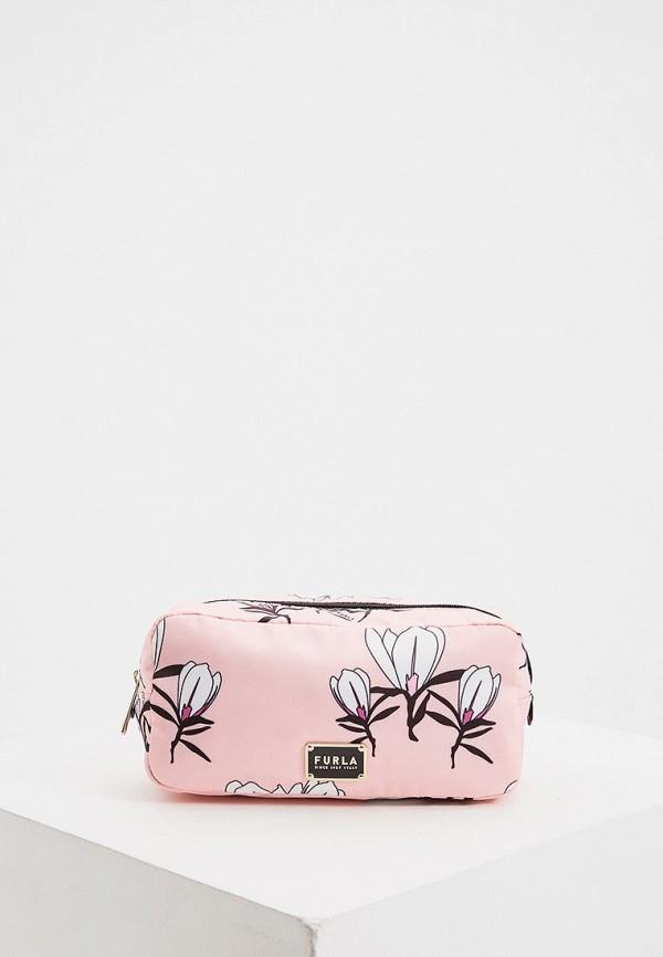 женская косметичка furla, розовая