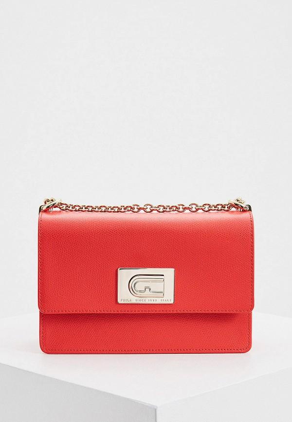 женская сумка через плечо furla, красная