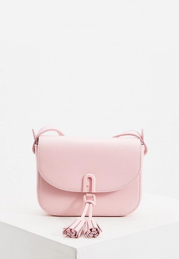 женская сумка через плечо furla, розовая