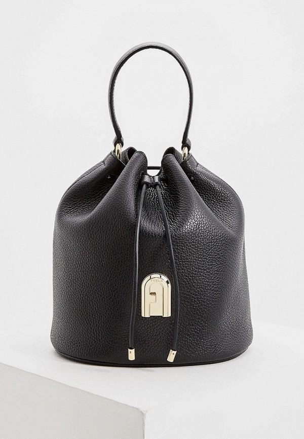 женская сумка-ведро furla, черная