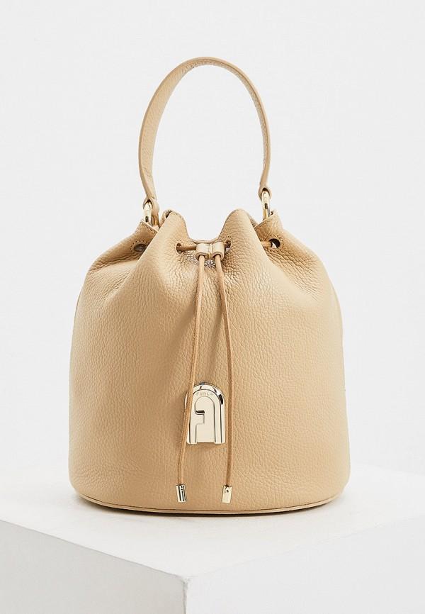 женская сумка-ведро furla, бежевая