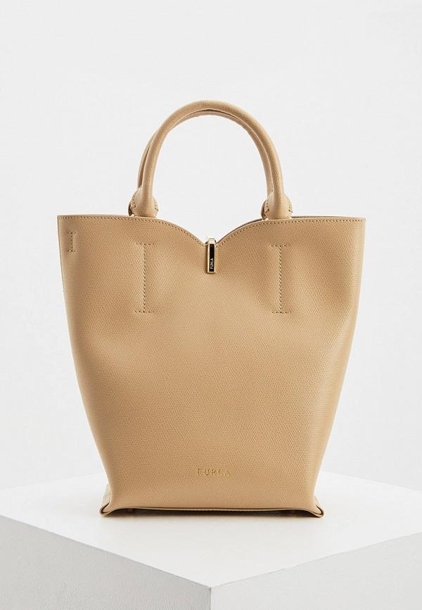 женская сумка с ручками furla, бежевая