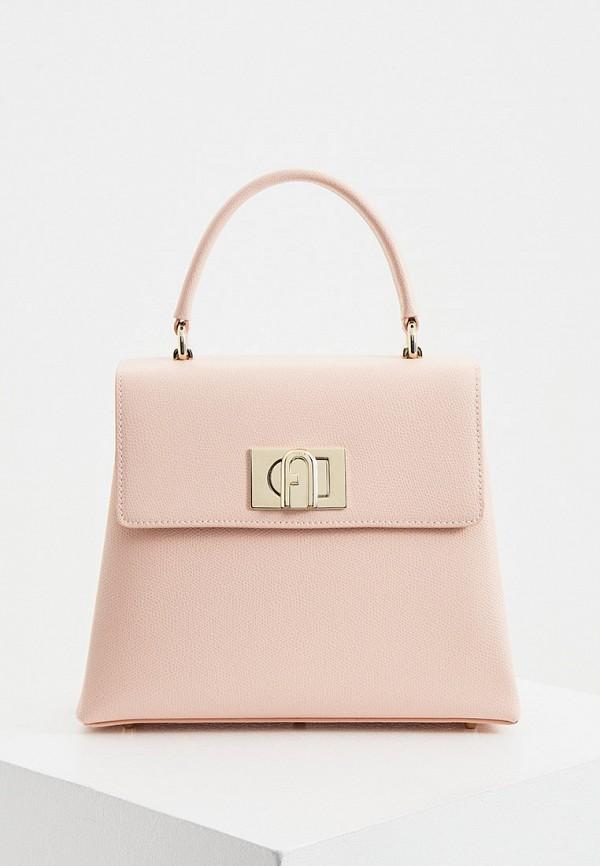 женская сумка с ручками furla, розовая