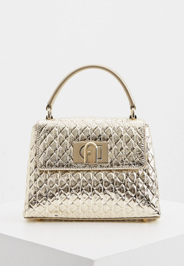 женская сумка с ручками furla, золотая