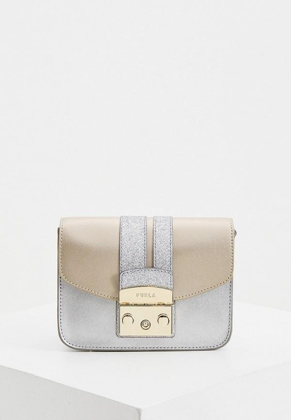 женская сумка через плечо furla, серебряная