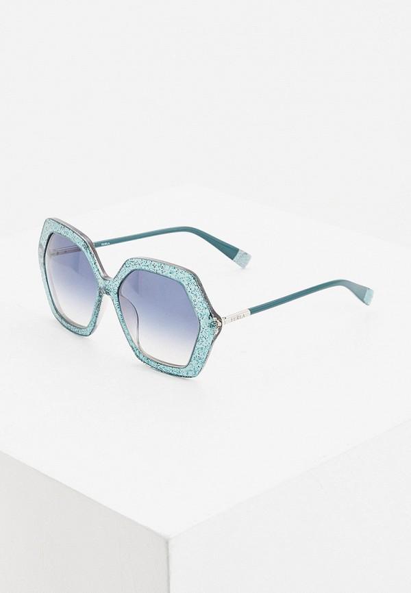 женские солнцезащитные очки furla, бирюзовые
