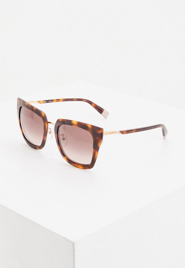 женские квадратные солнцезащитные очки furla, коричневые