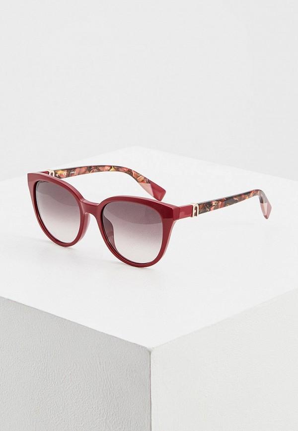 женские солнцезащитные очки furla, бордовые