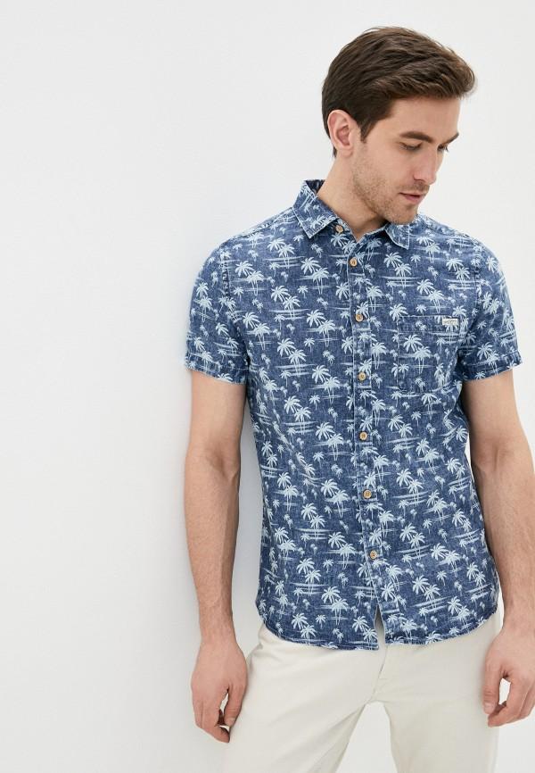 мужская рубашка с коротким рукавом funky buddha, синяя