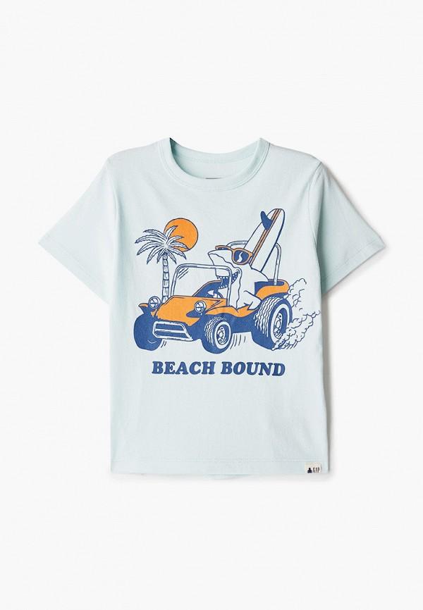 футболка с коротким рукавом gap для мальчика, голубая