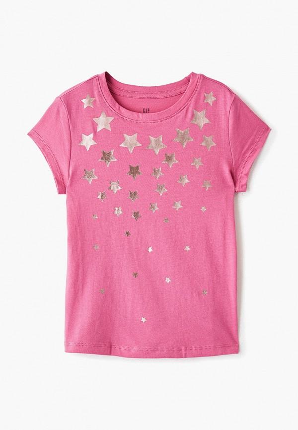 футболка с коротким рукавом gap для девочки, розовая