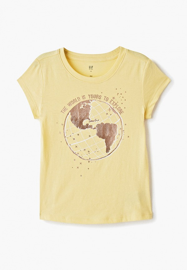футболка с коротким рукавом gap для девочки, желтая