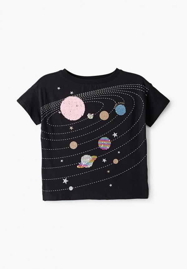 футболка с коротким рукавом gap для девочки, черная