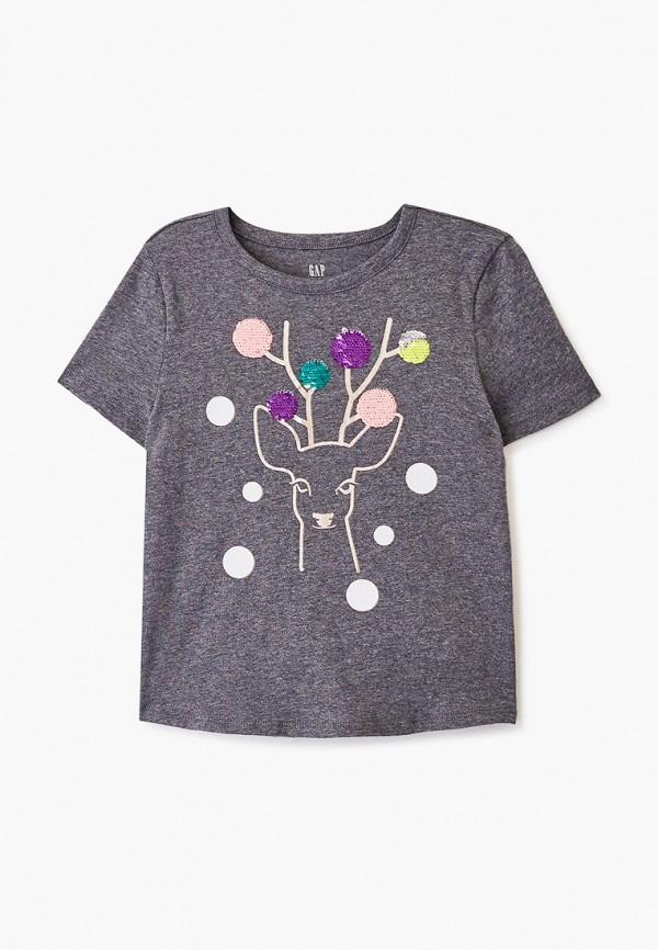 футболка с коротким рукавом gap для девочки, серая