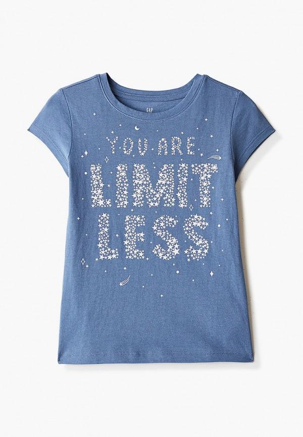 футболка с коротким рукавом gap для девочки, голубая