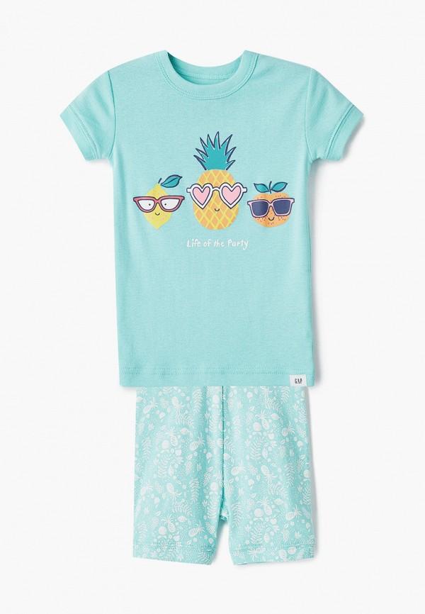 пижама gap для девочки, бирюзовая
