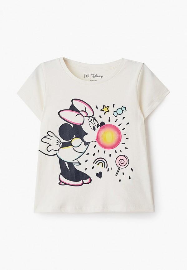 футболка с коротким рукавом gap для девочки, бежевая