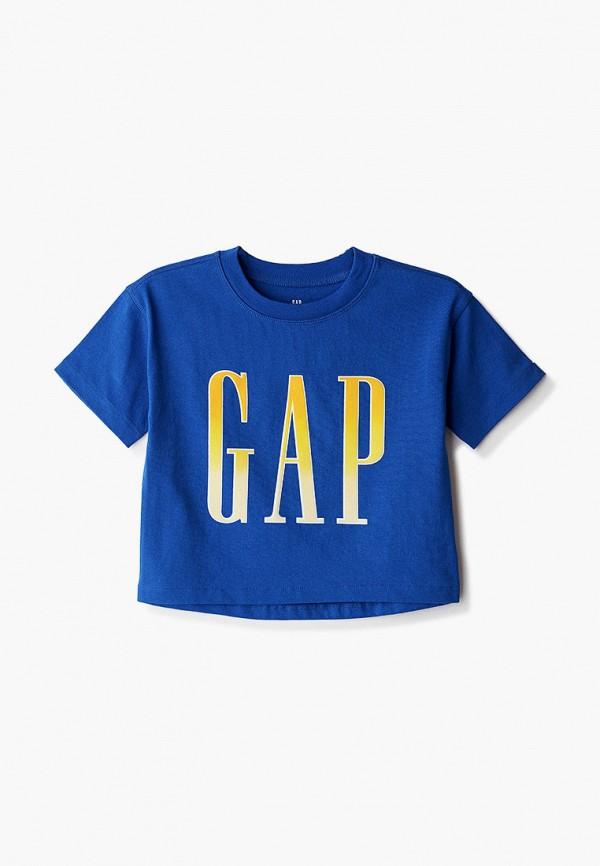 футболка с коротким рукавом gap для девочки, синяя