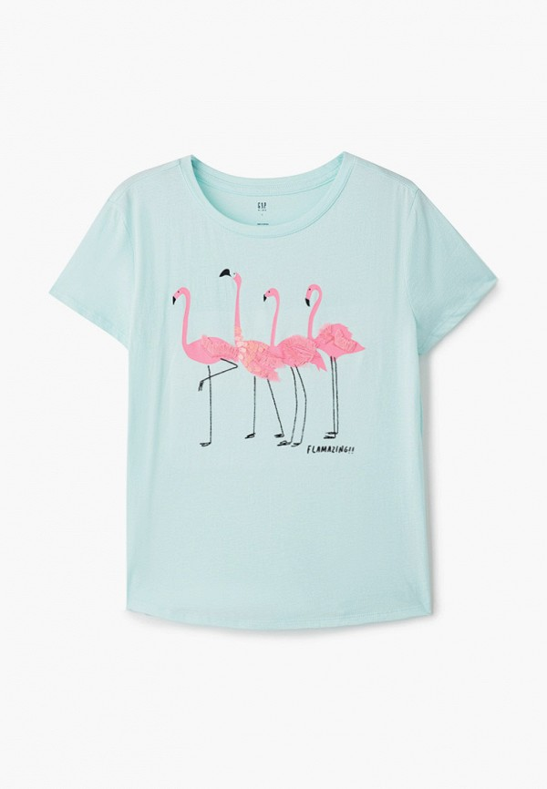 футболка с коротким рукавом gap для девочки, бирюзовая