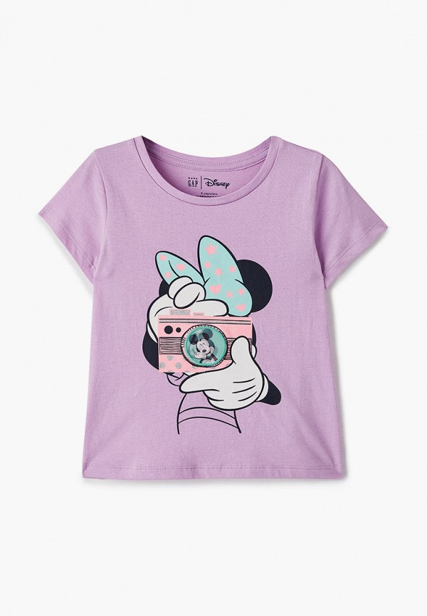 футболка с коротким рукавом gap для девочки, фиолетовая