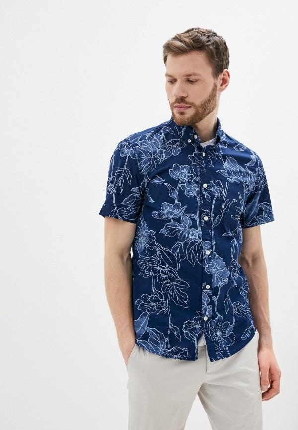 мужская рубашка с коротким рукавом gap, синяя