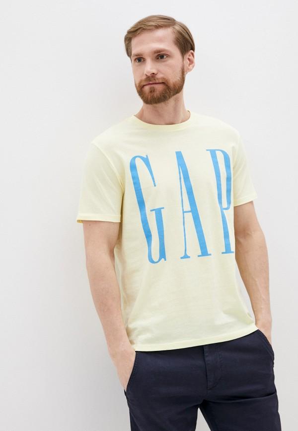 мужская футболка с коротким рукавом gap, желтая