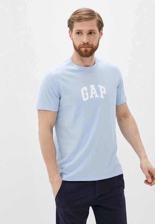 мужская футболка с коротким рукавом gap, голубая