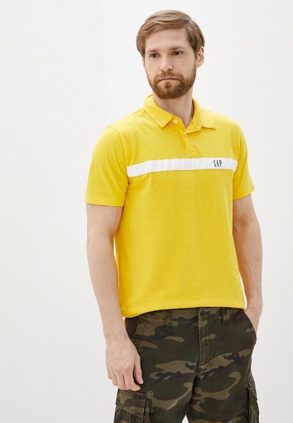 мужское поло gap, желтое