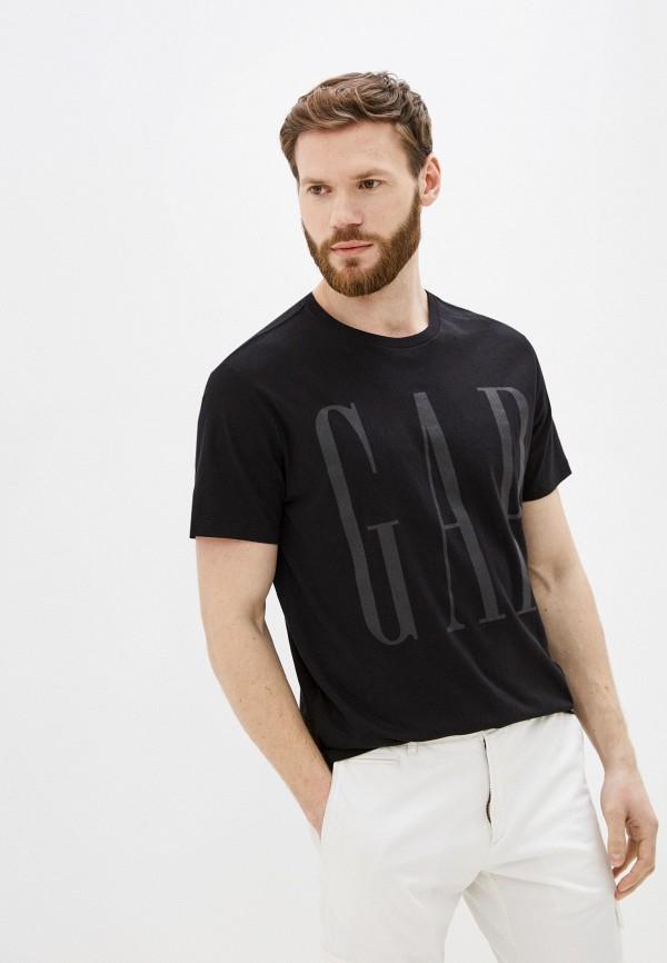 мужская футболка с коротким рукавом gap, черная