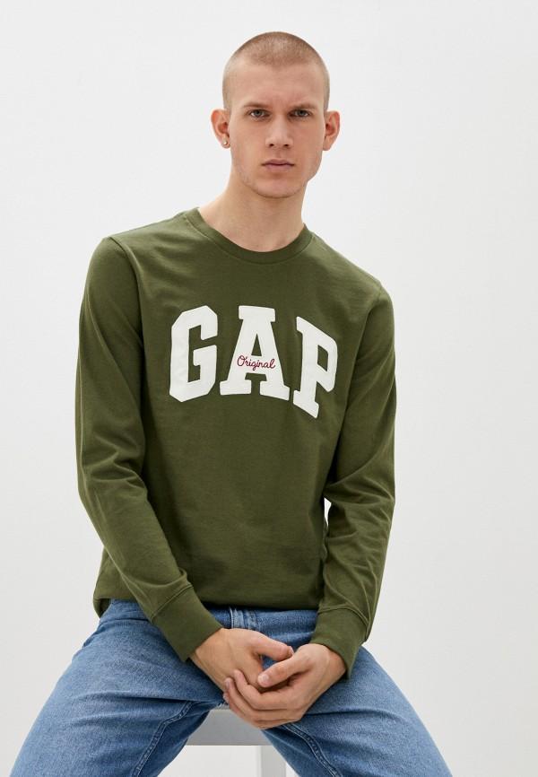 мужской лонгслив gap, зеленый