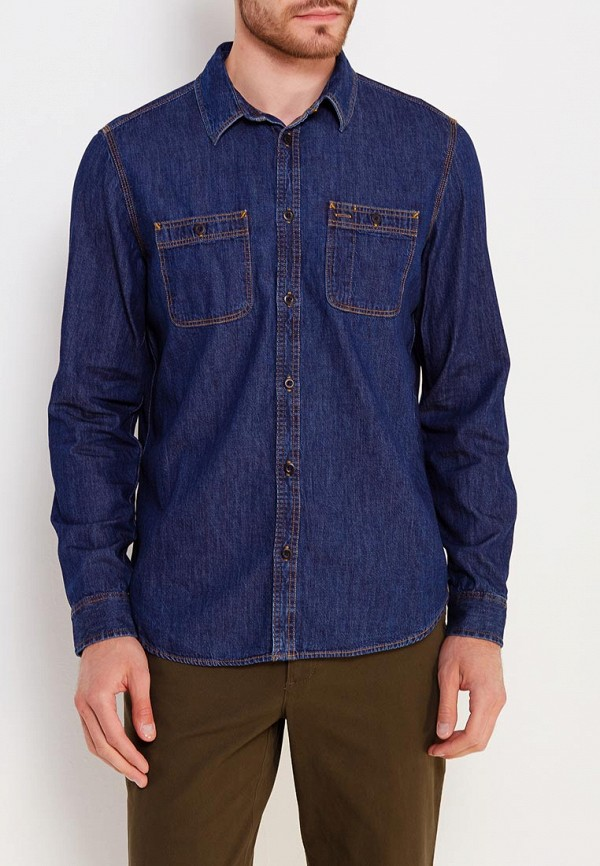 мужская рубашка с длинным рукавом gap, синяя