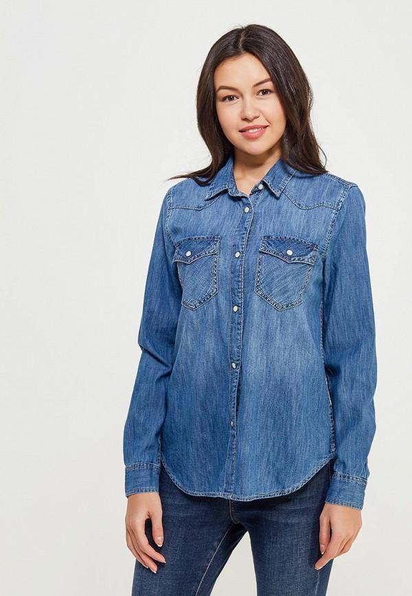 женская рубашка с длинным рукавом gap, синяя