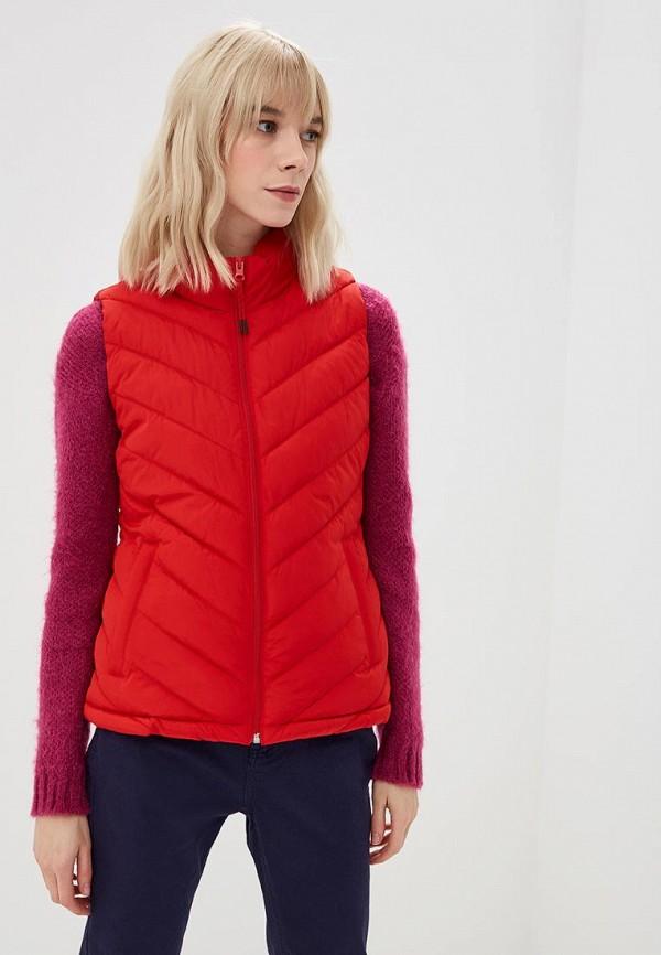 Женский красный осенний утепленный жилет