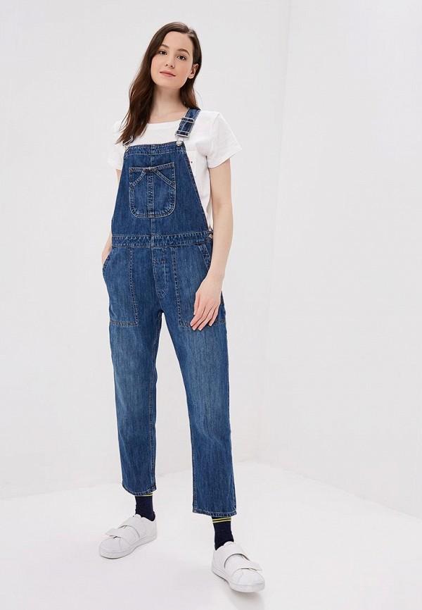 женский джинсовые комбинезон gap, синий
