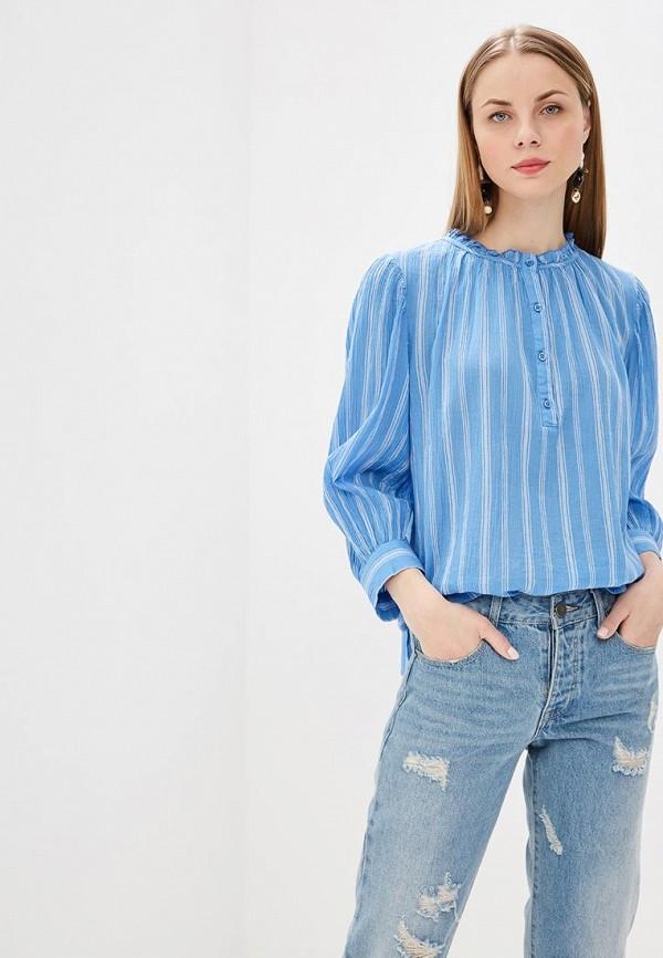 женская рубашка с длинным рукавом gap, голубая