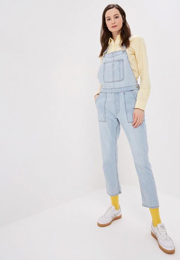 женский джинсовые комбинезон gap, голубой