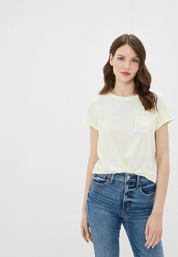 женская футболка gap, желтая