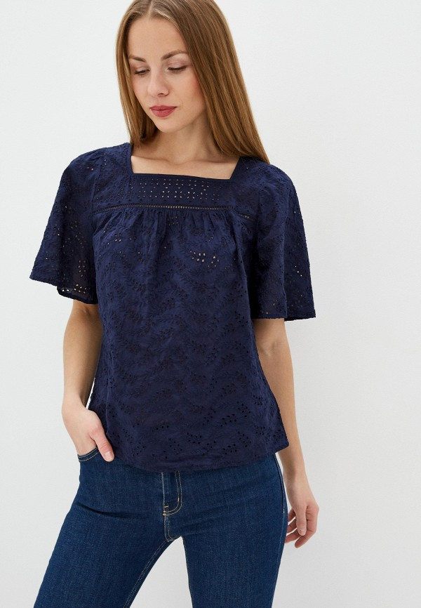женская блузка с коротким рукавом gap, синяя