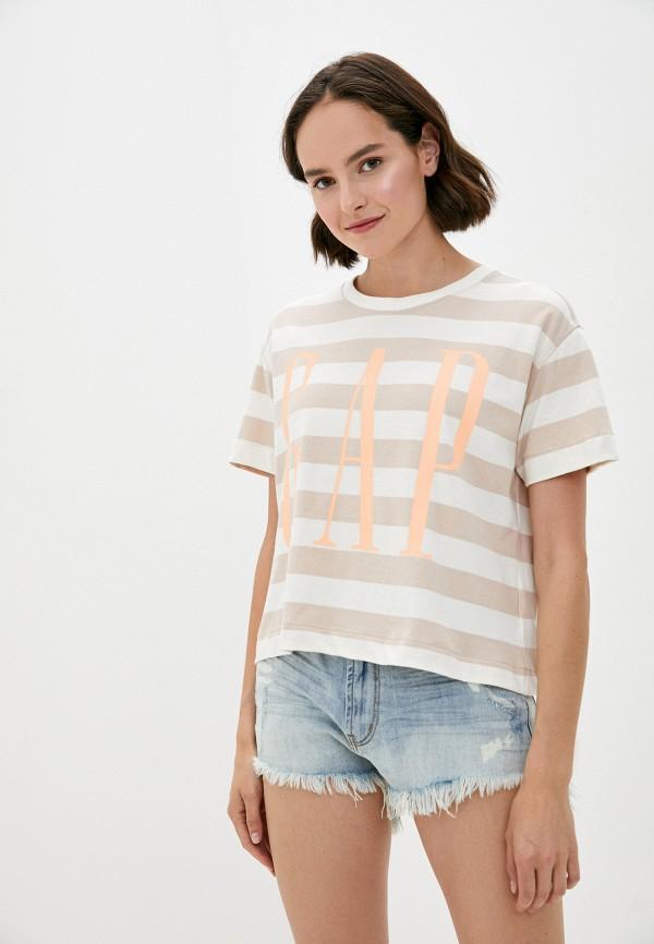 женская футболка gap, бежевая