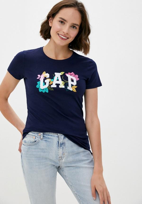 женская футболка gap, синяя