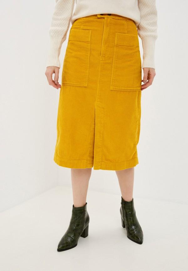 женская прямые юбка gap, желтая