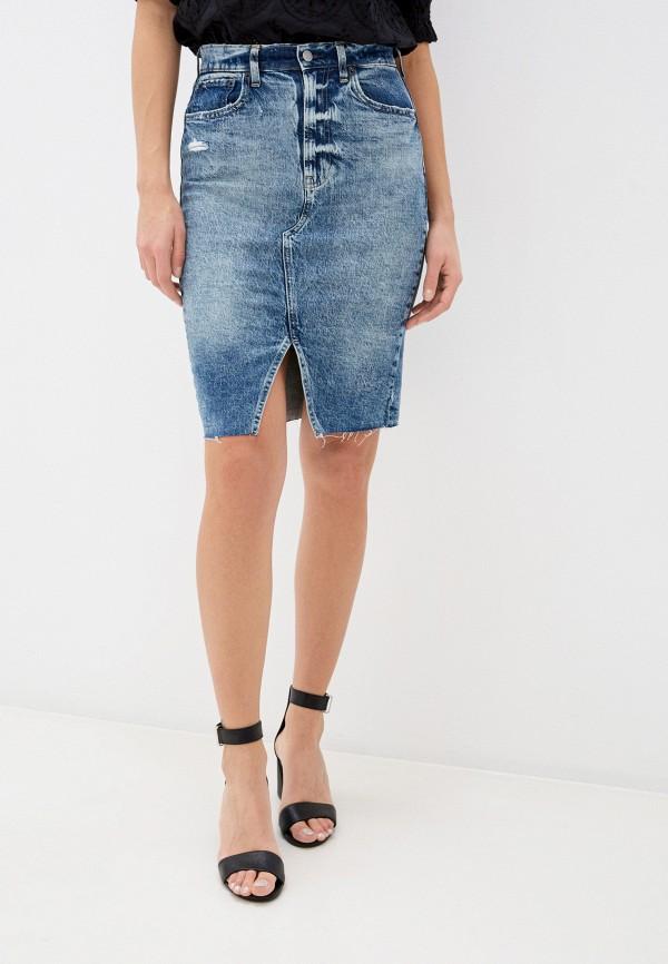 женская джинсовые юбка gap, голубая
