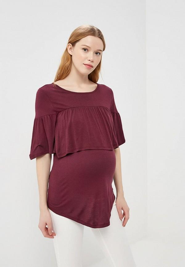 женская футболка gap maternity, бордовая