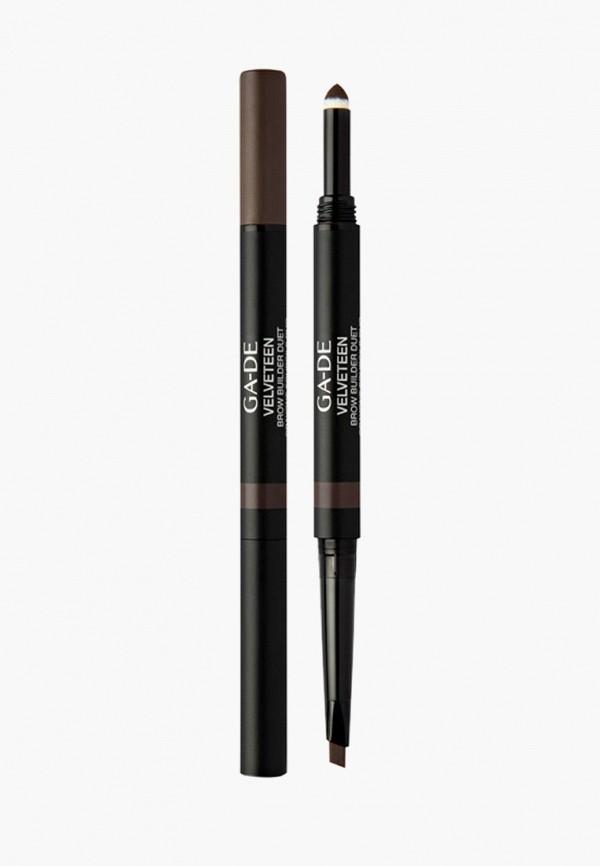 женский карандаш для бровей ga-de, коричневый