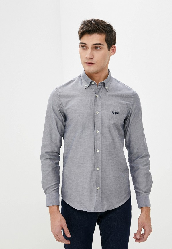 мужская рубашка с длинным рукавом galvanni, серая